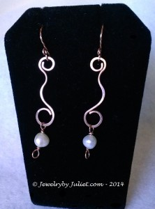 Freshwater Pearls and Copper Earrings