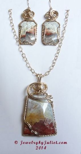 Mexican Crazy Lace Agate Pendant and Earrings 03