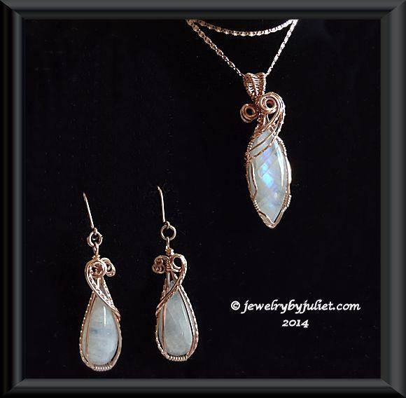 Rainbow Moonstone Pendant and earrings 01