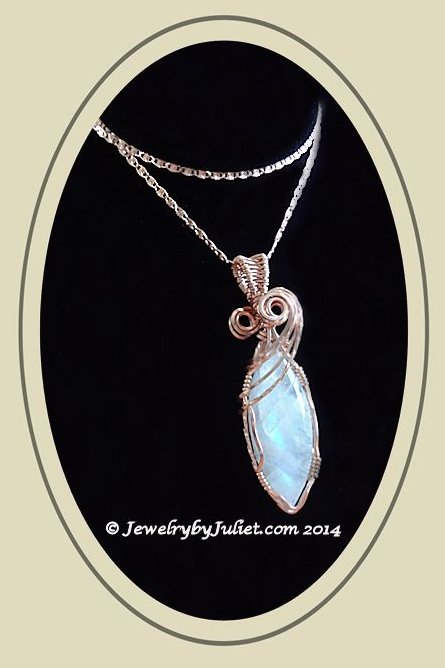 Rainbow Moonstone Pendant on chain 02 with copyright